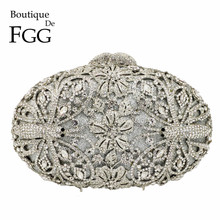 Boutique De FGG Dragonfly Pattern Women Fashion Crystal Evening Handbags and Purses Bridal Diamond Clutch Wedding Party Purse