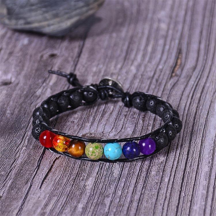 Hc42c6ba963f64c65b4338f919e554a49O - New Colorful 7 Chakra Bead Leather Rope Braided Bracelet Natural Tiger's Eye Volcanic Stone Energy Yoga Bracelet Women Jewelry