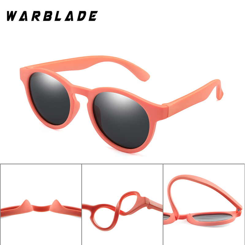 WarBLade Colorful Flexible Kids Sunglasses Polarized Boys Girls Round Sun Glasses Child Baby Eyewear Silicone Eyeglasses UV400