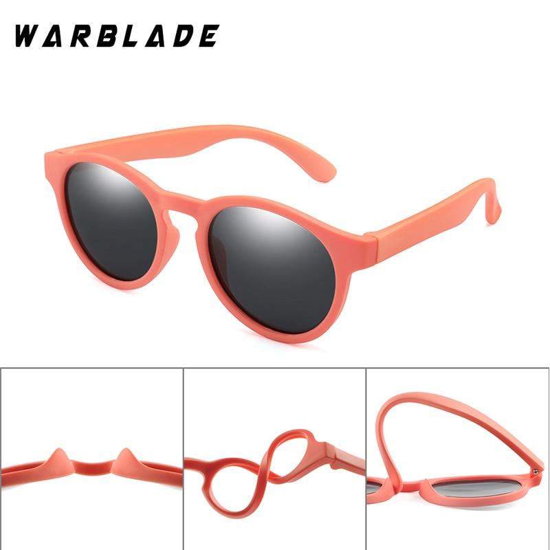 WarBLade Colorful Flexible Kids Sunglasses Polarized Boys Girls Round Sun Glasses Child Baby Eyewear Silicone Eyeglasses UV400