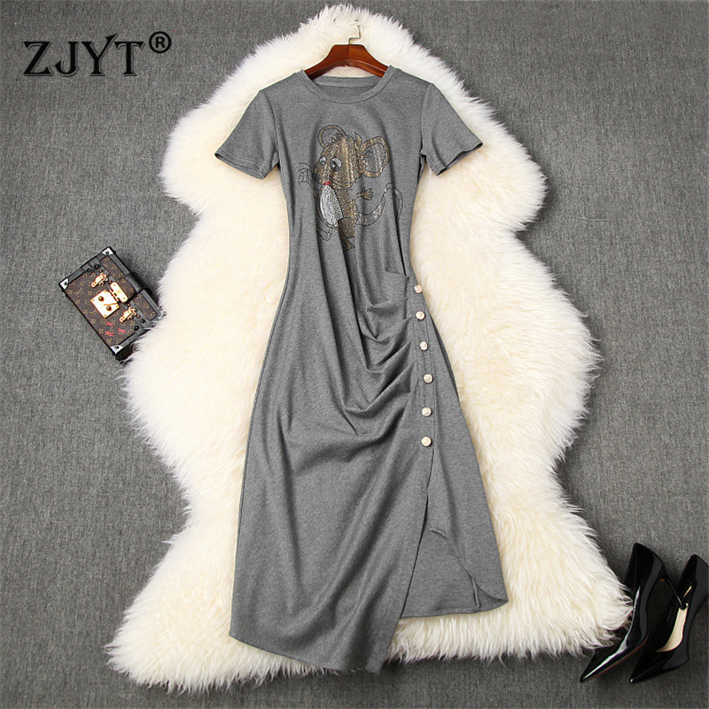 New 2020 Summer Short Tee Shirt Dress Fashion Womens Clothing Short Sleeve Diamonds Cartoon Solid Irregular Casual Dress
