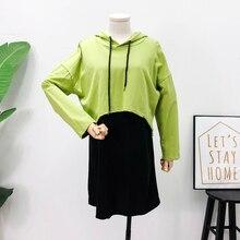 Mooirue Tracksuit Women Autumn Winter Solid Casual Hooded Pullovers+black Loose Tank Dress Vintage Streetwear 2 Piece Set