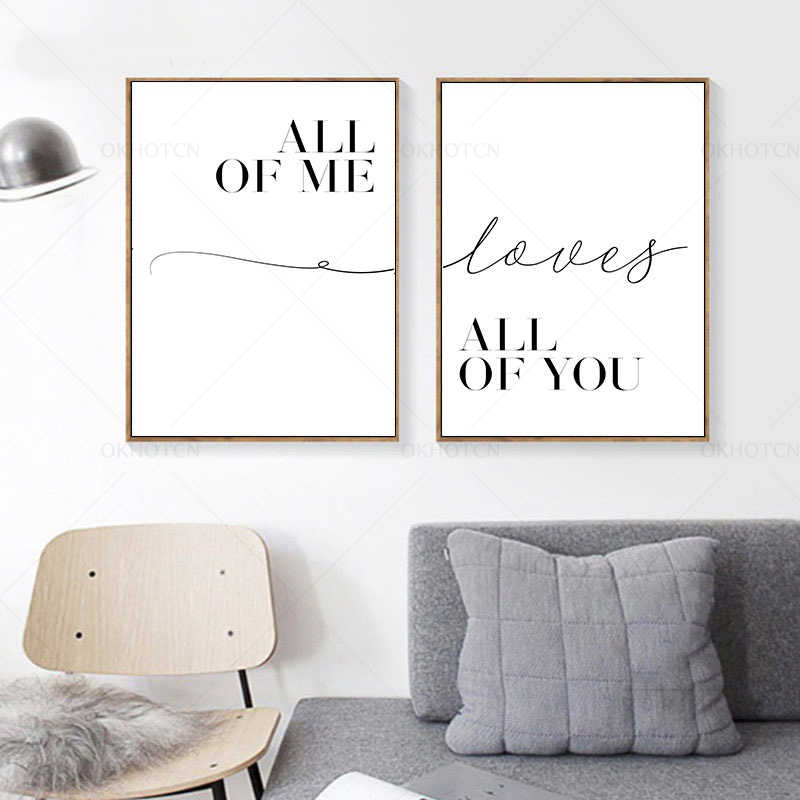 Siyah ve beyaz mektup tüm size veya Me resimleri duvar oturma odası dekorasyonu için resimleri hediye posterler hiçbir çerçeveli