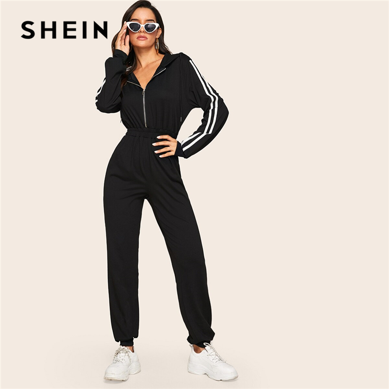 SHEIN Black Striped Side Zip Front Drawstring Hooded Jumpsuit Women Autumn Sporting Long Sweatpants High Waist Casual Jumpsuits
