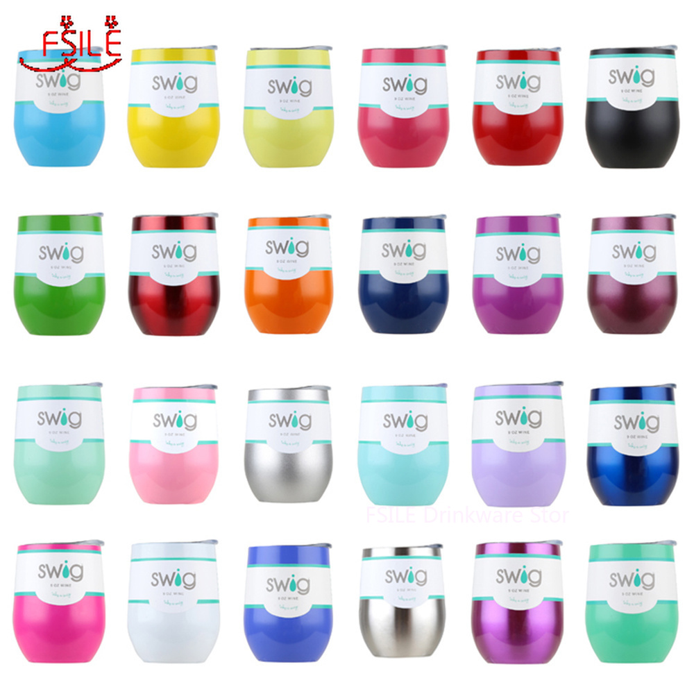 Swig Wine Cups Swig Cup Insulated Thermos Coffee Mug Vacuum Thermos Cup Travel Mug Swig Tumber 9OZ Egg Shaped cup Wine beer Mug