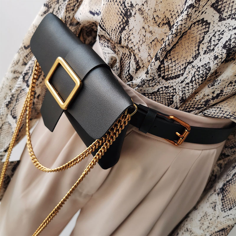 Snake Print Women Long Leather Belt With Waist Bag 2019 New Design Autumn And Winter Clothing Pu Leather Belts Solid Chain Belt