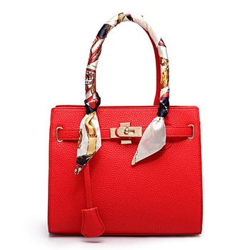 Fashion Women Silk scarves decoration Handbags PU Leather Totes Bag Crossbody Bag Solid Shoulder Bag Lady Simple Style HandBags