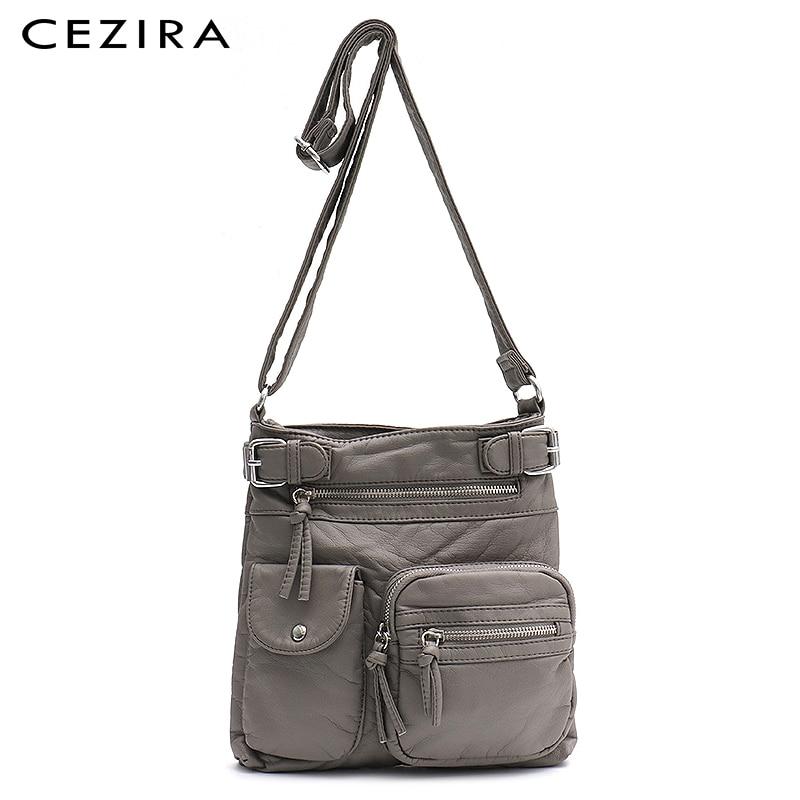 CEZIRA Casual Washed PU Leather Messenger Bags For Women Small Multi Pockets Shoulder Bag Girls Zipper Shoulder Purses&handbags