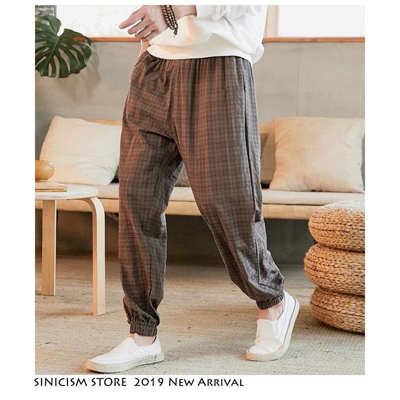 Sinicism Store Men Loose Harem Pants 2019 Autumn New Chinese Style Mens Cotton And Linen Feet Pants Male Large Size Korean Pants
