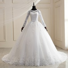 Ball-Gown Dresses Wedding-Gowns Princess Plus-Size Luxury Sweep-Train Lace Full-Sleeve