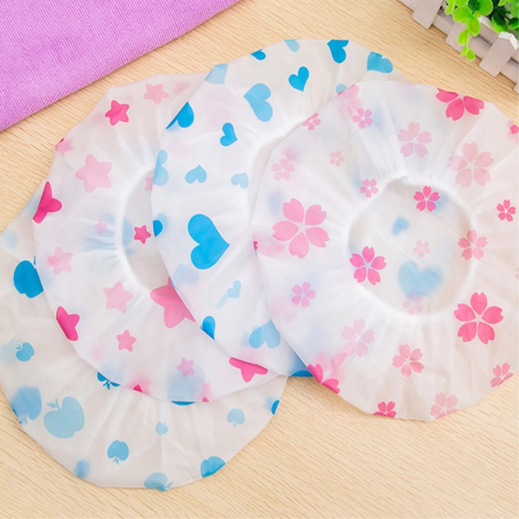 1PC Waterproof Shower Cap Thick Elastic Shower Cap Women's Hair Salon Bathroom Supplies Shower Cap