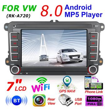 RK-A720 Android 8.0 12V Car Stereo Radio Bluetooth WiFi GPS Navigation Autoradio Support Mirror Link image