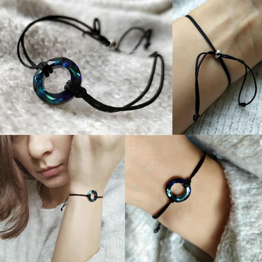 Baffin círculo grânulos pulseira cristais de swarovski sorte vermelho preto corda corrente par pulseiras para homens feminino crianças desejo jóias