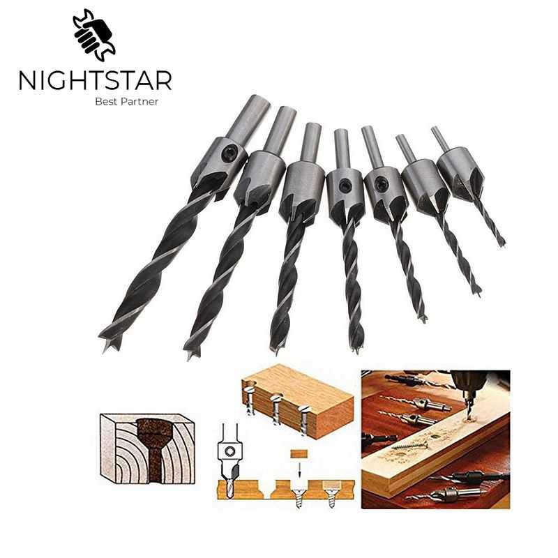 7X Wood 5 Flute HSS Countersink Drill Bit Set 3 4 5 6 7 8 10mm Carpentry Tool UK