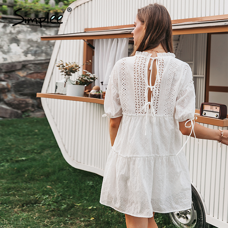 Simplee embroidery lace up bow white dress women summer beach vintage dresses ruffles short puff ladies party dress vestidos