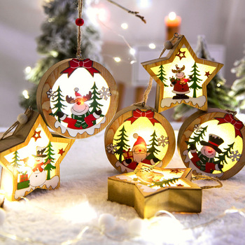 LED Light Christmas Tree Ornaments Star Car Wooden Hanging Pendants Christmas Decorations For Home Party Kids Gifts Wood Crafts led light christmas tree star car wooden pendants ornaments xmas diy wood crafts kids gift for home christmas party decorations