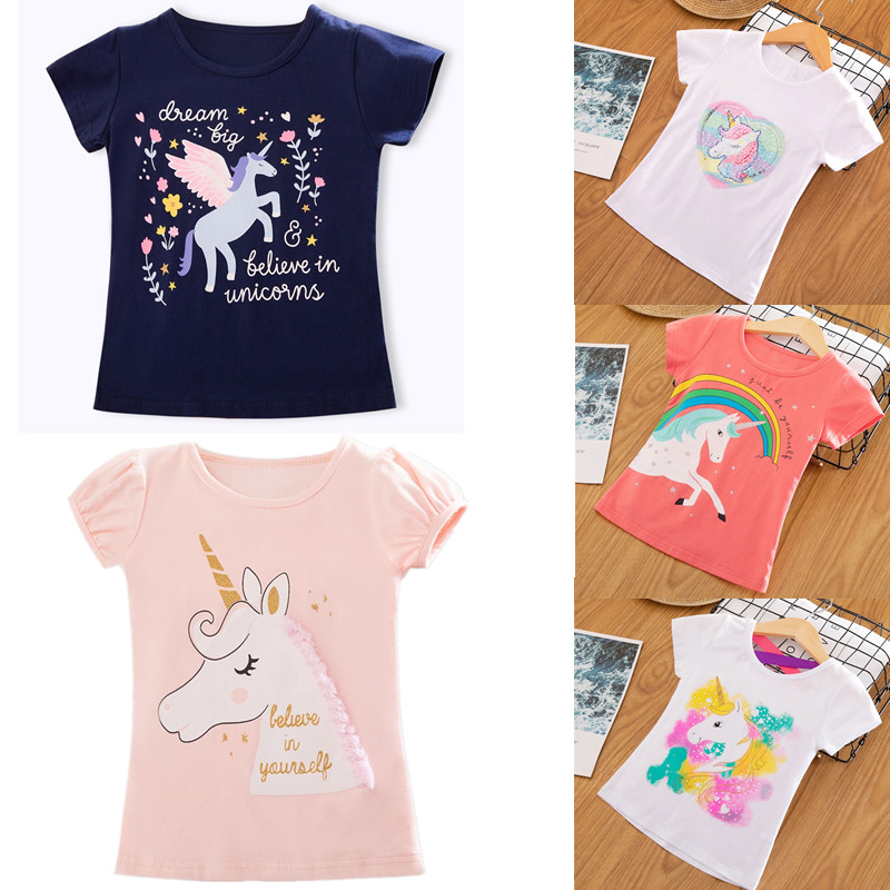 Baby Girl 3 4 5 6 7 8 Years Birthday Unicorn Party Shirts  Boy's T Shirt T-shirt Children's Clothing Tees Costume for Kids Tops