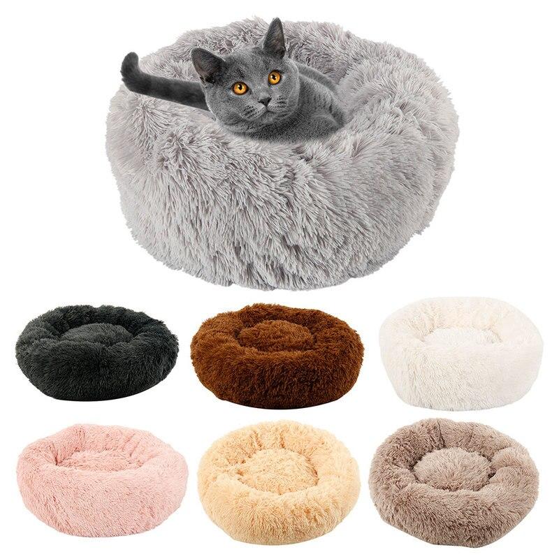 Hot Lange Plüsch Hund Bett Winter Warme Runde Betten Soild Farbe Weiche Haustier Hunde Katze Matte Kissen Dropshipping