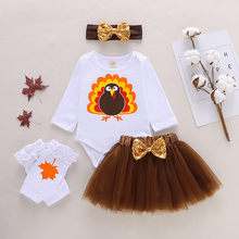 Infant Baby Girls Thanksgiving Day Turkey Romper Tulle Skirts Outfits Long Sleeve Clothing Children Tops Outfits Costuems 2019(China)