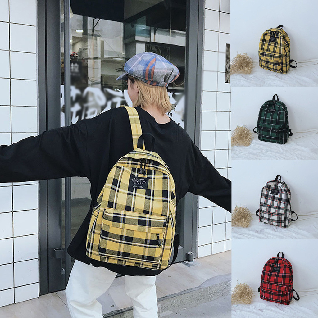 Women New Bag Female Student College Wind Bag Plaid Canvas  Backpack Travel Bag Zipper Fashion School Bags Hot#50