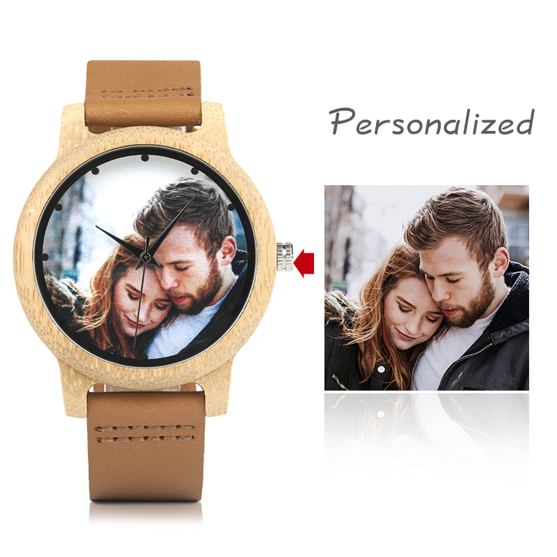 BOBO BIRD Couples Wood Watch Personal Photo Printing Wristwatch Picture Print Customized Clock Unique DIY Gift For Friend/Lover