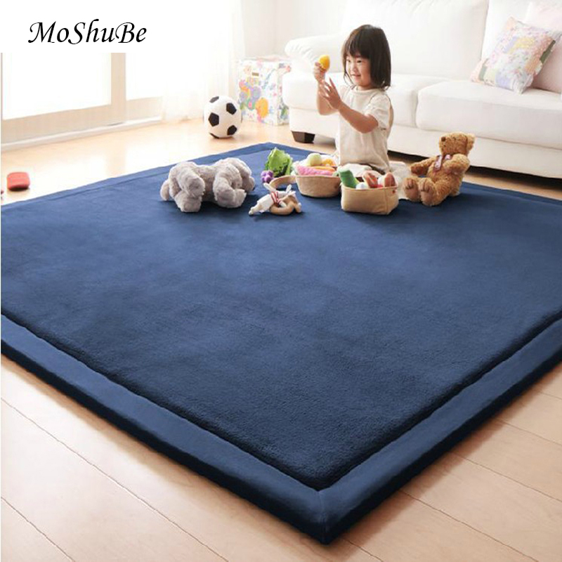 200cm Play Mat Anti-Slip Home Children's Carpet Blanket Game Mat Kids Solid Rug 2cm Thick Soft Floor Coral Velvet Crawling Toy