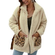 Leopard Print Coat Teddy Bear Women Faux Fur Thick Warm And Jackets Winter Casual Fluffy Jacket Outwear D25