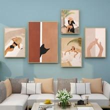 Moda poster sexy mulher moderna arte da parede gato preto senhora lona fotos abstrata nordic pintura impressões para sala de estar decoração