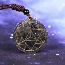 Cristal de energia natural labradorite reiki pingente colar chakra pedra elimina energia negativa aura pingente de cristal
