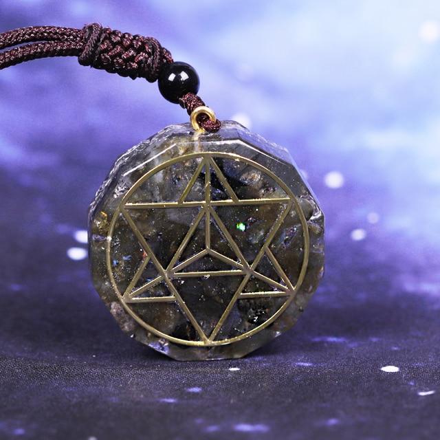 Orgonite pendentif en cristal énergétique Labradorite, Reiki, collier avec les pierres de Chakra, pendentif en cristal Aura, élimine lénergie négative