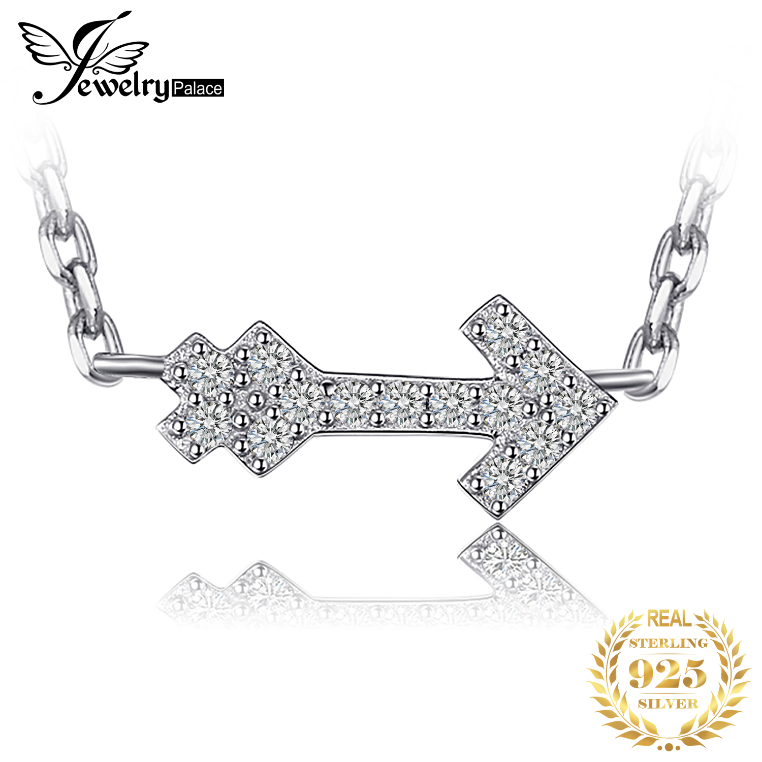 JewelryPalace Love Arrow Round Necklace Pure 925 Sterling Silver 45cm Jewelry For Women Love Gift For Friend Gift For Women