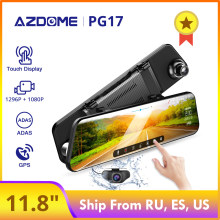 "AZDOME PG17 12 ""espejo coche DVR Streaming Media pantalla completa Dash camtouch doble lente visión nocturna 1080P frontal 720P copia de seguridad DVR(China)"