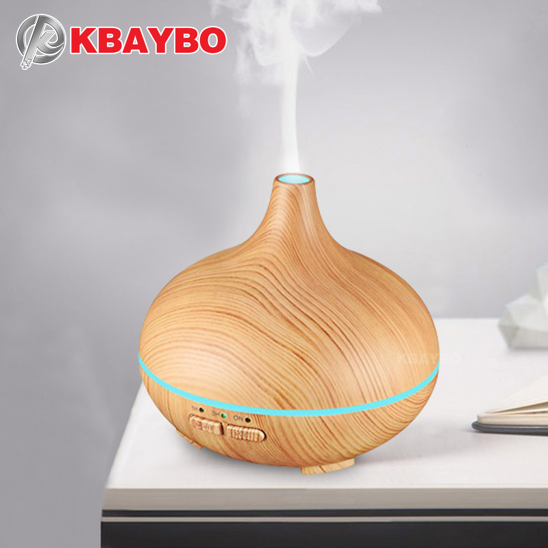 KBAYBO USB Mini Essential Air Humidifier Aroma Oil Diffuser Wood Grain Ultrasonic Wood Air Humidifier Mist Maker LED Lights Home