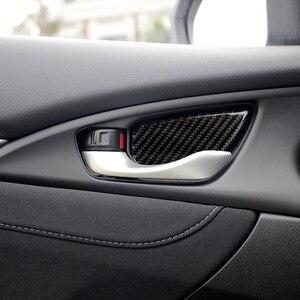 Image 1 - 4pcs Carbon Fiber Stickers Interior Door Handle Bowl Cover Panel Trim Protector Strip  Car accessories for Honda Civic 2016 2019