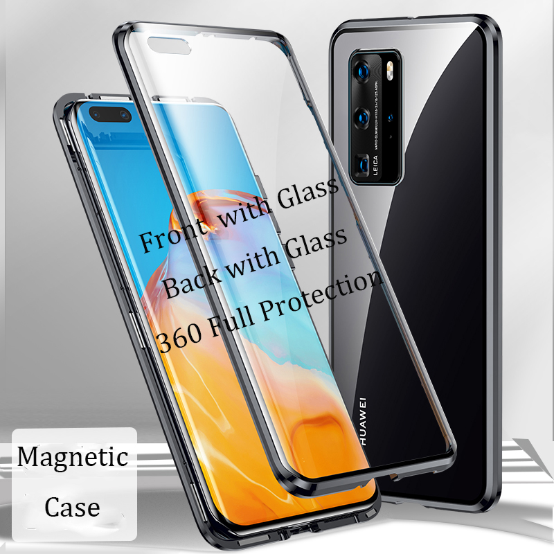 For Huawei P40 Pro Magnetic Case Front+Back double-sided Tempered Glass Case for Huawei P40 Lite Nova 7i P40 Metal Bumper Case