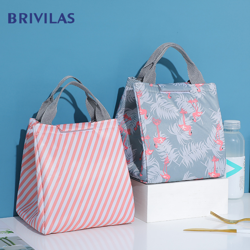 Brivilas New Lunch Bag For Breakfast Insulation Cooler Bags Women Fashion Flamingo Ligh Thermal Food  Box Portable Picnic Travel