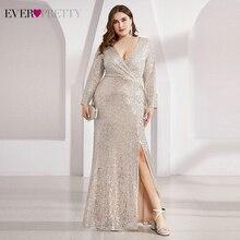 Роскошные платья для выпускного вечера размера плюс Ever Pretty EP00824 вечерние платья с длинным рукавом, v-образным вырезом и рюшами