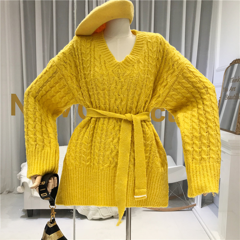 V-Neck Vintage Women's Free Knitted Sweater Fall Winter 2019 New Items Orange Pink Green Yellow Sashes Women Long Sleeve Tops