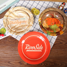 10pcs/lot Autumn Dinner Paper Plates Thanksgiving Day Decorative Glorlfy Him With