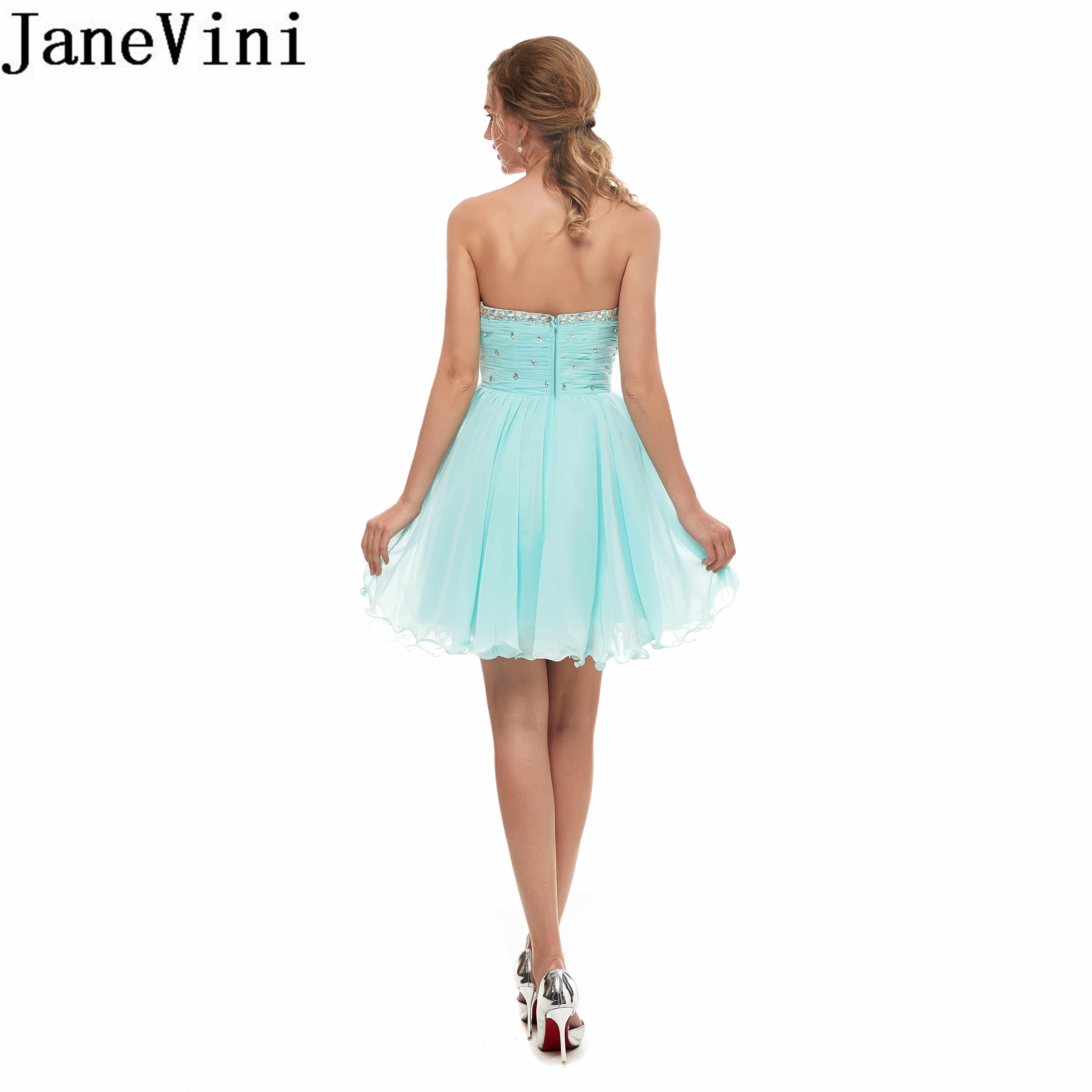 JaneVini קצר שמלות נשף 2019 שיפון קריסטל חרוזים שמלת ערב קפל מעל הברך המפלגה שמלות vestidos דה גאלה elegante