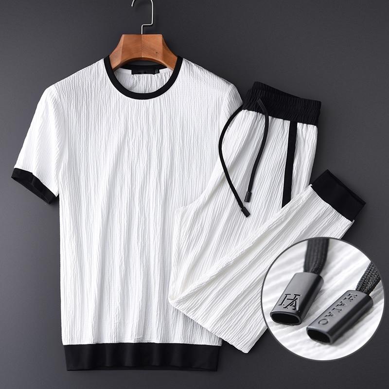 Men Summer Thin (t-shirt+pants) Luxury Wrinkle Fabric Casual Sport Mens Plus Size 4xl Contrast Color Man Sets