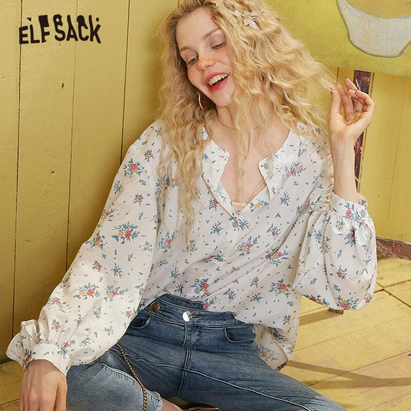 ELFSACK White Floral Print Korean Style Blouse Women 2020 Spring Vintage Single Button Long Sleeve Casual Ladies Daily Tops