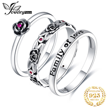 JPalace Vintage Created Ruby Ring Set 925 Sterling Silver Rings for Women Anniversary Stackable Rings Sets Silver 925 Jewelry
