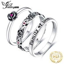 JPalace Vintage Erstellt Rubin Ring Set 925 Sterling Silber Ringe für Frauen Jahrestag Stapelbar Ringe Sets Silber 925 Schmuck