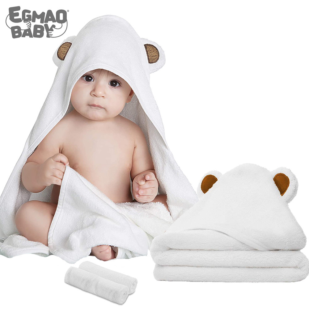 Organic Bamboo Hooded Baby Towel Soft Hooded Bath Towels With Ears For Babies Baby Washcloth Set Perfect Baby Shower Gift