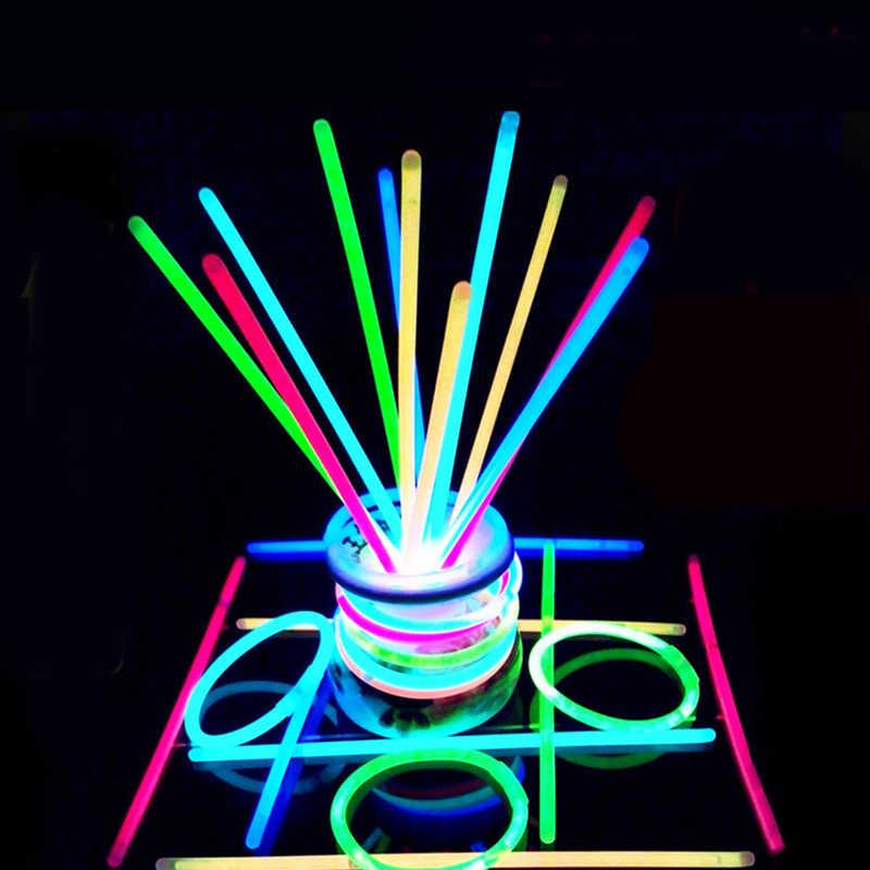 นีออนเรืองแสง Sticks เรืองแสงใน Dark Luminous GLOW Stick กำไลสร้อยคอเทศกาลคริสต์มาส PARTY GLOW Sticks