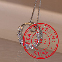 Hot Sale Promotion 2019 New Shiny Zircon Crystal Circle 925 Sterling Silver Women's Pendant Necklaces Jewelry Gift(China)