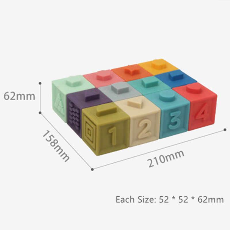 3D TOUCH Cube Emboss ลูกอิฐ Bath Teether Squeeze เด็กขนาดใหญ่ยางซิลิโคนพลาสติกอาคารบล็อกของเล่นเด็ก