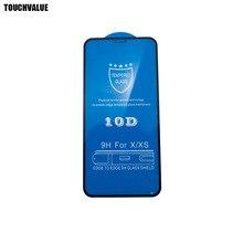 100 adet/grup iPhone X için 10D cam ekran koruyucuları için iPhone 6 6S 6P 6 6SP 7 8 7P 8P XR XS Max temperli cam filmi 9H