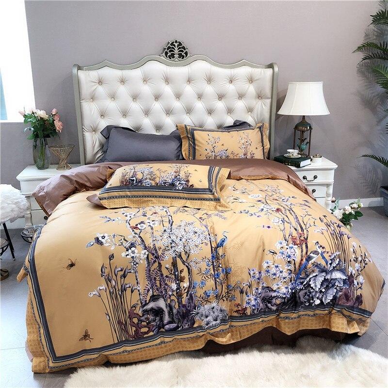 2019 New 1000TC Egyptian cotton Bedding Set 4pcs Duvet Cover Sets Bed Linen Flat Bed Sheet Set Pillowcase Home Textile
